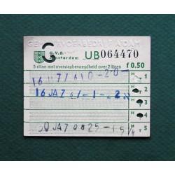 GVB Vijf rittenkaart fl. 0,50